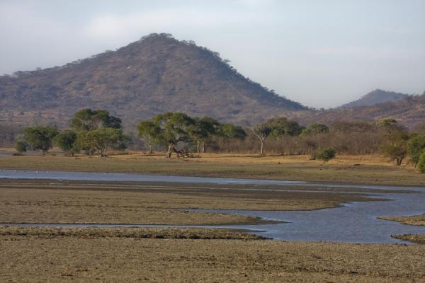 Picture of Vwaza Marsh Game Reserve (Malawi): Typical landscape of Vwaza Marsh Game Reserve: mountain, trees, and water