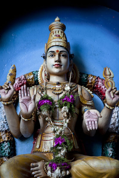 Picture of Batu Caves (Malaysia): Close-up of a Hindu goddess at a shrine at Batu Caves