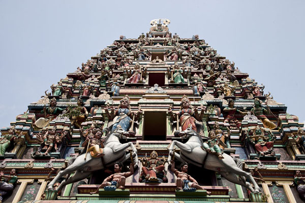 Picture of The colourful and ornate tower of Sri Maha Mariamman temple seen from below