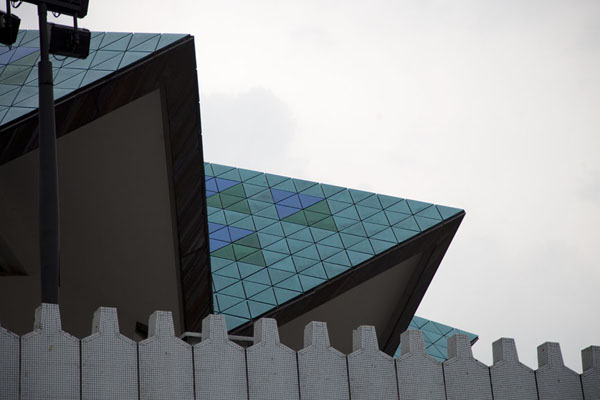 The umbrella-like roof with green and blue tiles | Masjid Negara | Malaysia