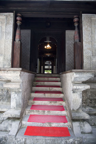 Picture of Entrance of the Old Friday mosque with coral stone and woodwork
