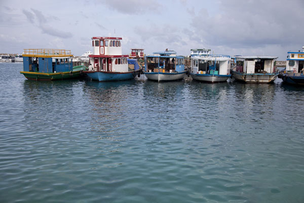 Boats docked in one of the harbours of Male | Malé | 马勒蒂夫