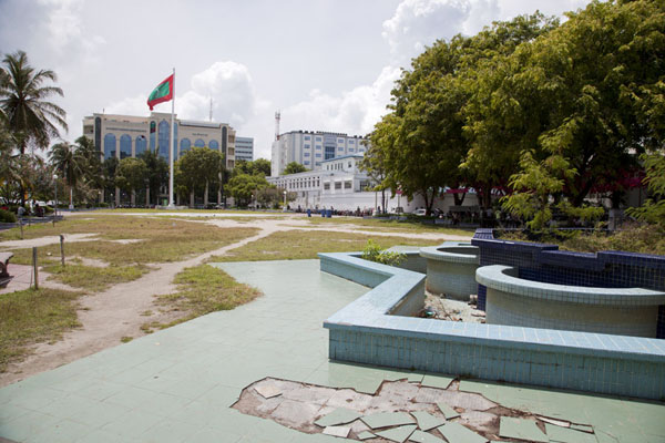 Picture of Malé (Maldives): Fountain and flag on Jumhooree Maidan, the main square of Malé