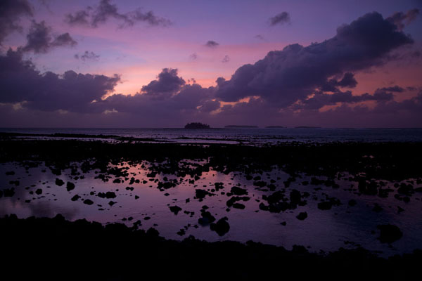 Picture of Sunset turning the sky and water purple on Eneko island - Marshall Islands - Oceania