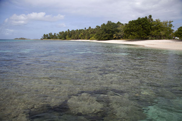 Foto van  (Eneko island with coral heads in transparent waters)