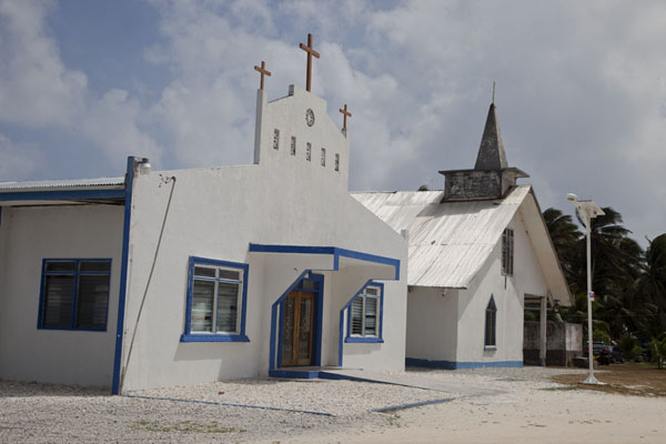Picture of Laura (Marshall Islands): Two churches, all white, in Laura