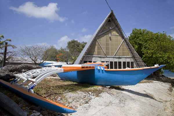 Picture of WAM traditional Marshallese canoes (Marshall Islands): Marshallese outrigger canoe outside the workshop