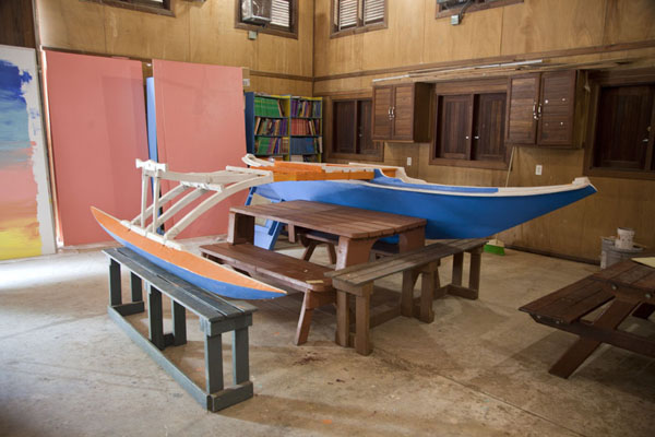 Picture of WAM traditional Marshallese canoes (Marshall Islands): Traditional Marshallese outrigger canoe to be used inside the atoll