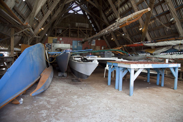 Picture of WAM traditional Marshallese canoes (Marshall Islands): Traditional Marshallese canoes are made in this big hall