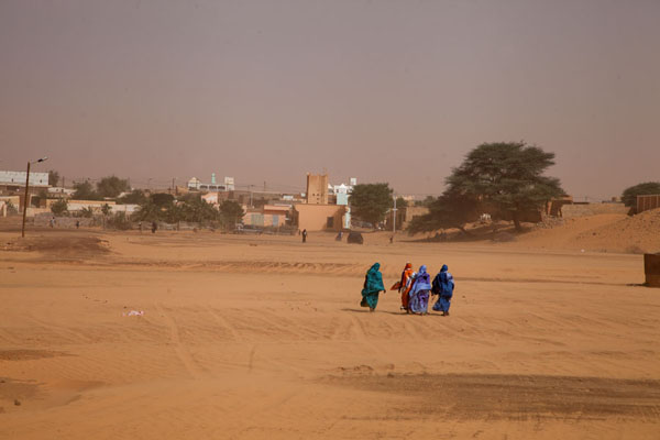 Picture of Chinguetti (Mauritania): Crossing the riverbed between old and new Chinguetti: veiled women braving a sand storm