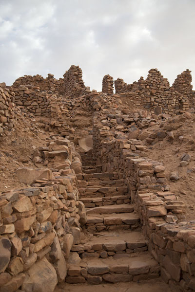 Stairs leading up the Rue des 40 Savants in the old town of Ouadane | Ouadane | Mauritania