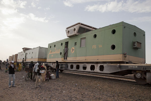The first class compartment at the rear of the iron ore train with the viewing platform on top | Zouérat Nouadhibou train minerai de fer | Mauritanie