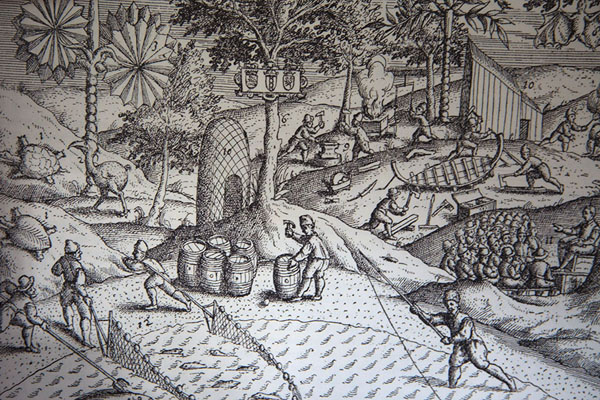 Foto van Detail of drawing depicting humans, animals, buildings and natureOld Grand Port - Mauritius