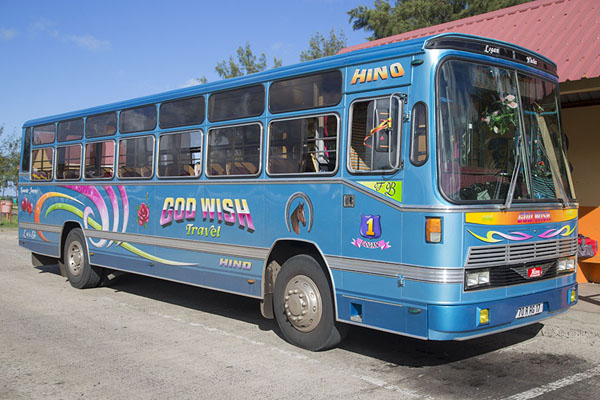 God Wish travel, bus waiting to leave at Port Mathurin bus station | Bus de Maurice | Maurice