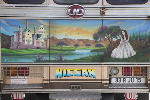 Fairy tale painting on a bus at Port Mathurin bus station | Bussen van Mauritius | Mauritius