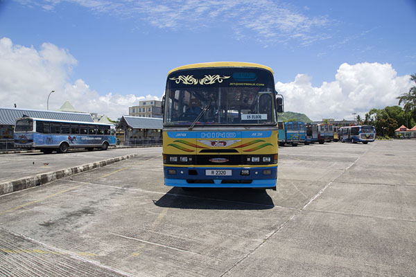 Picture of Mahébourg bus station with bus - Mauritius - Africa