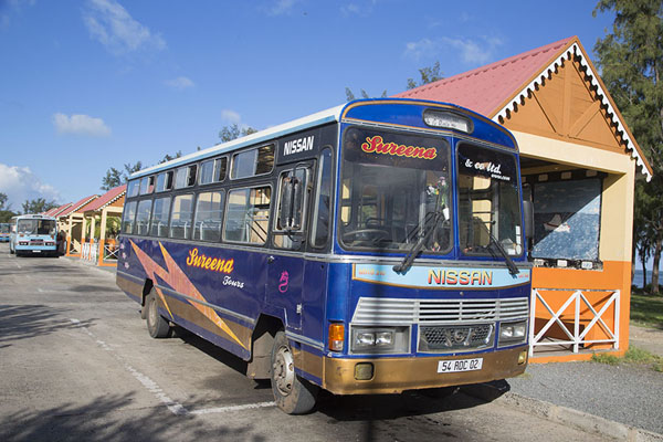Bus at the bus station of Port Mathurin on Rodrigues island | Bussen van Mauritius | Mauritius