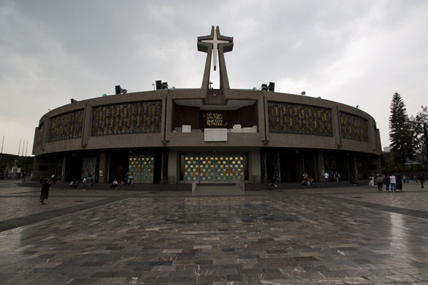 The modern Basilica of Guadalupe during a rain shower | Basilica of Guadalupe | Mexico