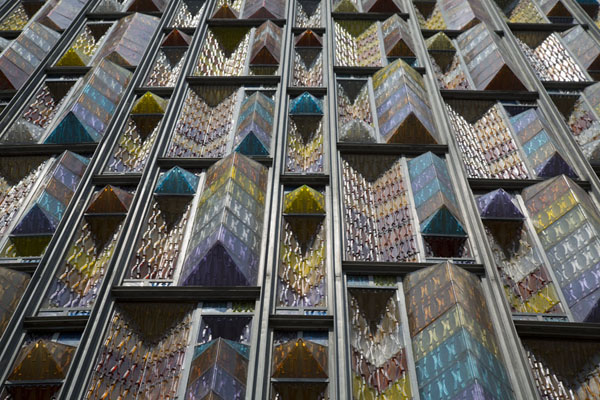 Looking up the colourful windows of the modern Basilica of Guadalupe | Basilique de Guadaloupe | le Mexique