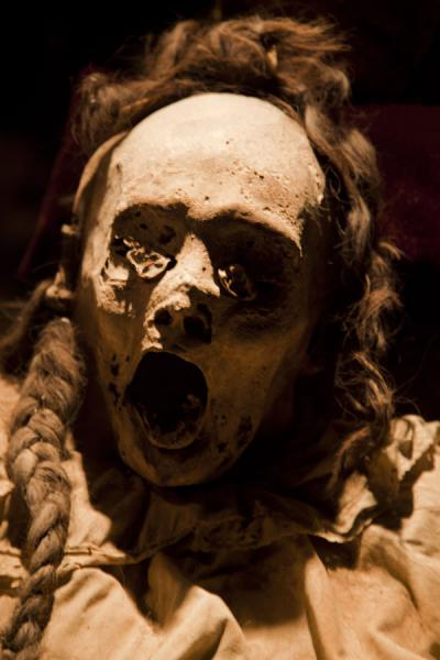 Mummy with clothes and hair | Mummies Museum | Mexico