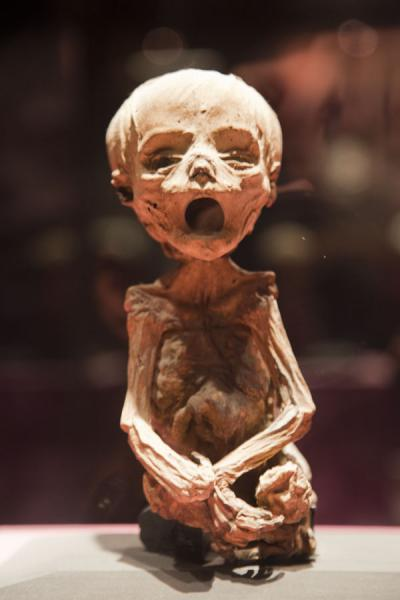 Supposedly the smallest mummy in the world, next to his mother | Mummies Museum | Mexico