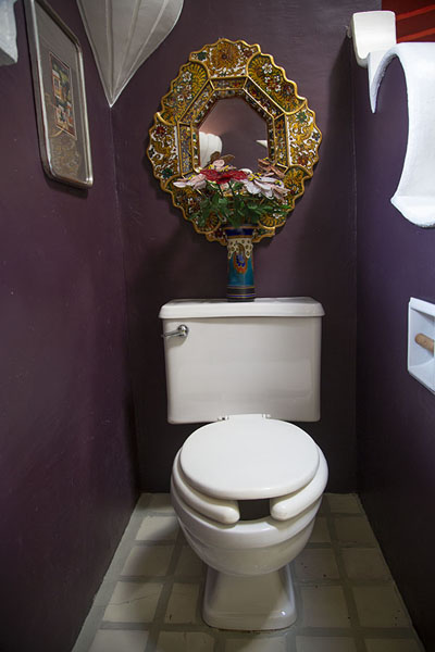Toilet with ornamental mirror | Robert Brady Museum | Mexico