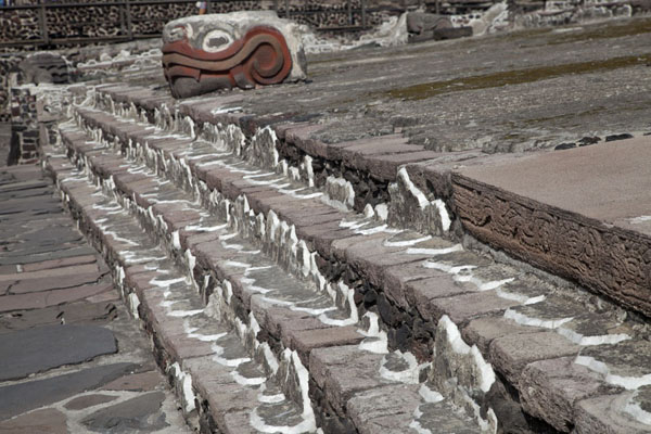 Steps at the west side of the Templo Mayor with serpent head and toads | Templo Mayor | le Mexique
