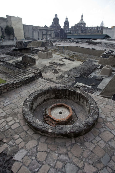 Looking across the Templo Mayor from the northeastern corner, with the cathedral in the background | Templo Mayor | Messico