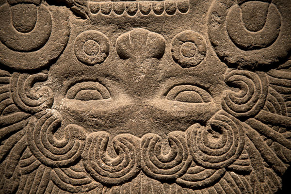Close-up of sculpted face in the museum of the Templo Mayor | Templo Mayor | Messico