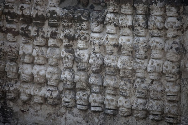 Picture of The Altar Tzompantli consists of rows of skulls on its outer walls