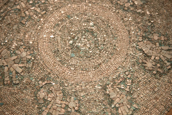 Close-up of the Turquoise Disc, dated to Phase VI of Templo Mayor | Templo Mayor | le Mexique