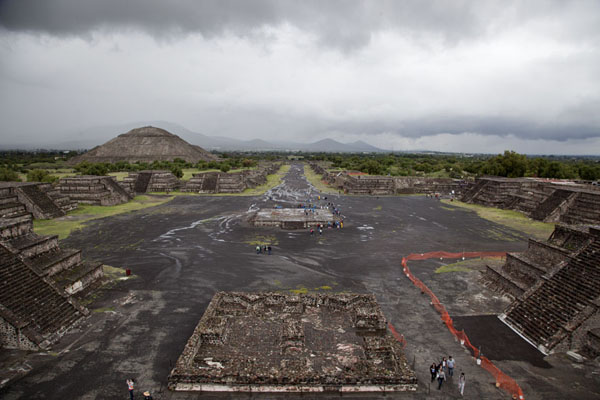 Looking over the Avenue of the Dead from the Pyramid of the Moon with the Plaza of the Moon in the foreground | Teotihuacan | Mexico