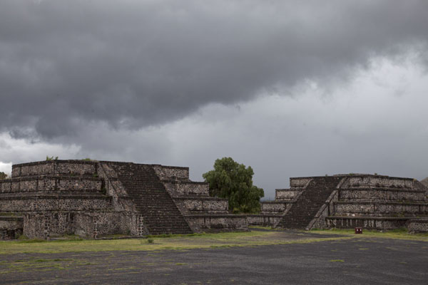 Picture of Teotihuacan (Mexico): The Plaza of the Moon: two of the platforms