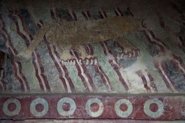 Mural of a jaguar on the wall of a platform at the Avenue of the Dead | Teotihuacan | Mexico