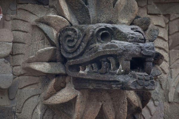 Foto van Feathered serpent head sticking out of the Temple of QuetzalcoatlTeotihuacan - Mexico