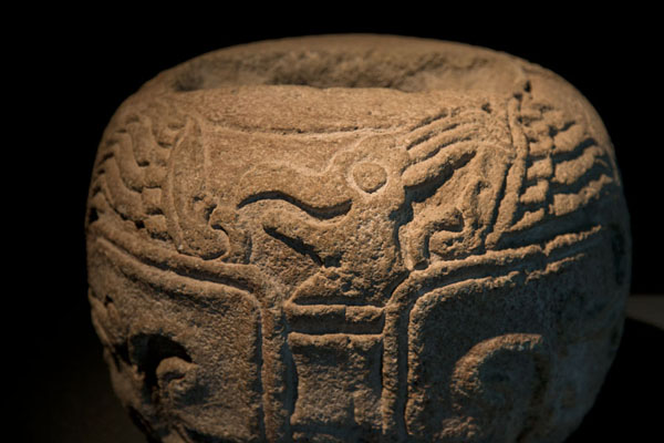 Detail of object with bird head on display in the Teotihuacan Museum | Teotihuacan | Mexico