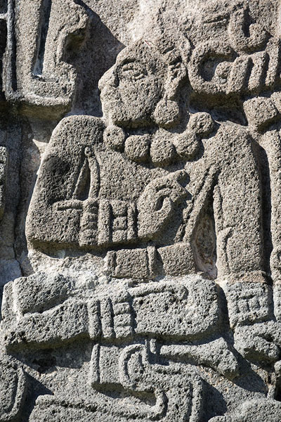 Close-up of deity on the outer wall of the Temple of the Feathered Serpent | Xochicalco | Messico