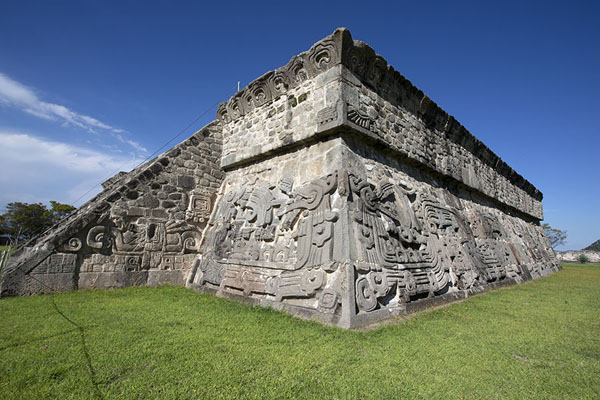 Looking up the Temple of the Feathered Serpent | Xochicalco | Mexico