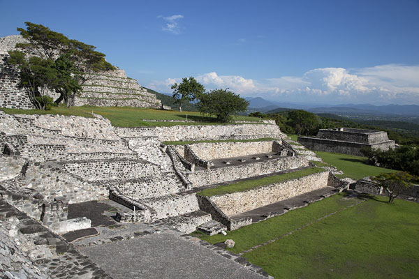 The side of the Great Pyramid from next to the Temple of the Three Stelae | Xochicalco | Messico