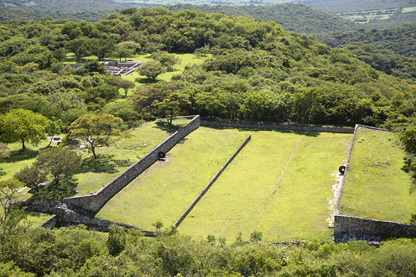 The southern ball-court, or Teotlachtli, seen from above | Xochicalco | Messico