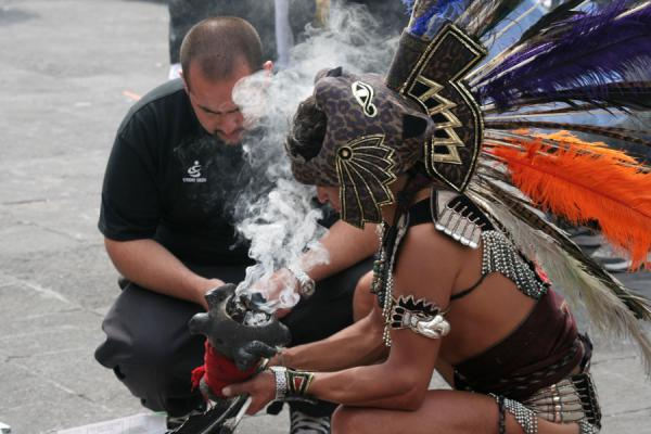 Picture of Zocalo, Mexico City: traditional Indian healer with customer - Mexico - Americas