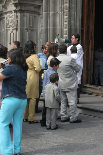 Picture of Zocalo (Mexico): Zocalo, Mexico City: queueing to be baptized