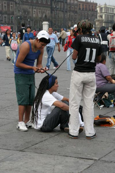 Having your hair treated on Zocalo, Mexico City | Zocalo | Mexico
