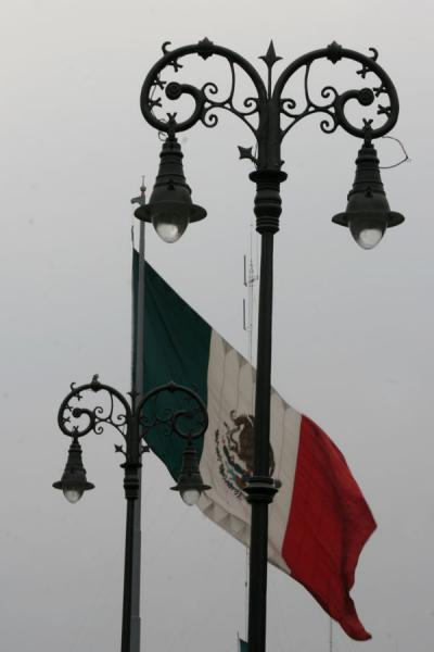 Picture of Zocalo (Mexico): Zocalo, Mexico City: flag flying over the square