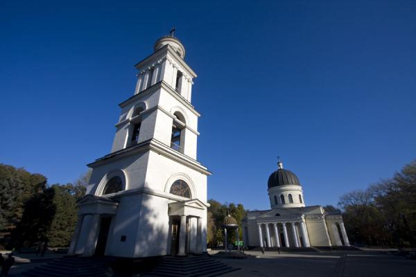 Picture of White belfry and Nativity Cathedral in Cathedral Park in the early morning