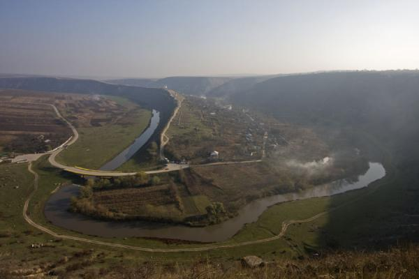 Picture of Butuceni, Raut river, and Orheiul Vechi complex in the hill - Moldova - Europe