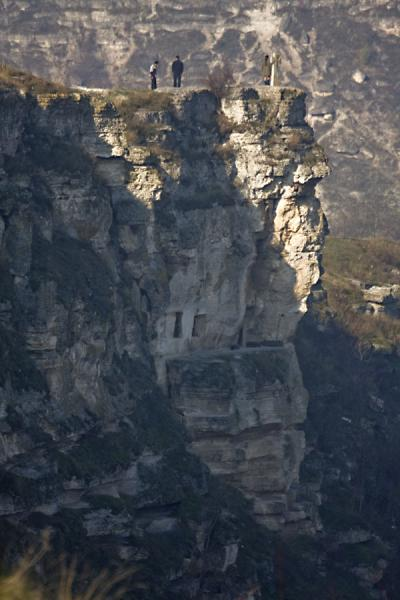 Picture of Side view of the Pestera Hermitage: cliffs and crossOrheiul Vechi - Moldova