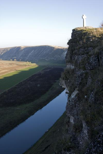 Picture of Raut river and cliffs with stone cross on topOrheiul Vechi - Moldova