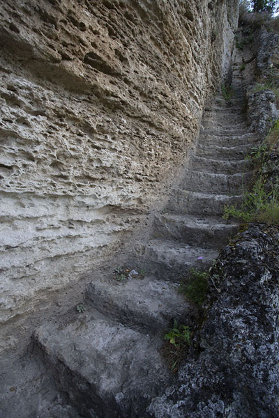 Stairs hewn out in the rockface of Tipova | Tipova Monastery | Moldova