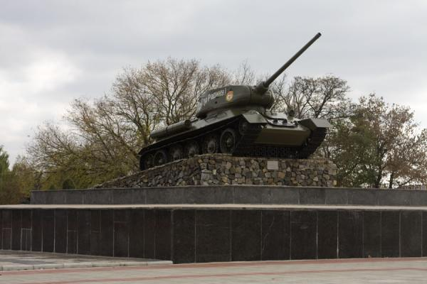 Russian armoured tank at the entrance of the Heroes Cemetery and war memorials | Tiraspol | Moldova